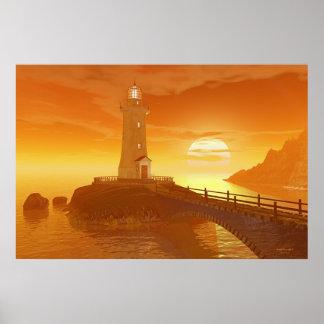 Elliot Key Lighthouse - Golden Sunset Poster