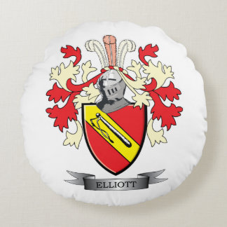 Elliott Family Crest Coat of Arms Round Pillow