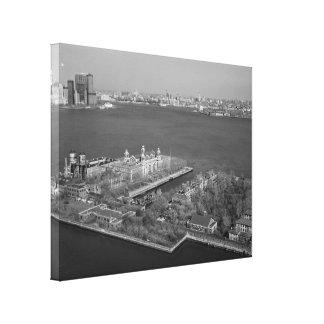 Ellis Island and NYC Harbor Photograph Canvas Print