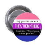 Ellos/ellos pronombres - bandera de Genderfluid Pin Redondo 5 Cm