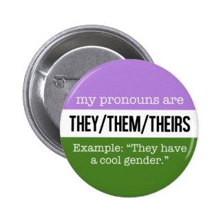 Ellos/ellos pronombres - bandera de Genderqueer Pin Redondo De 2 Pulgadas