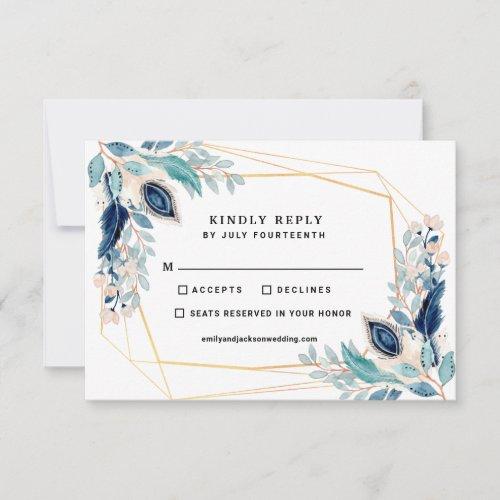 Elm Green Tangaroa Blue Peacock Geometric Florals RSVP Card