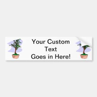 Elm Like Bonsai Tree Pink Pot Car Bumper Sticker