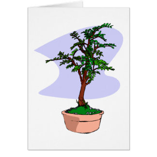 Elm Like Bonsai Tree Pink Pot Stationery Note Card