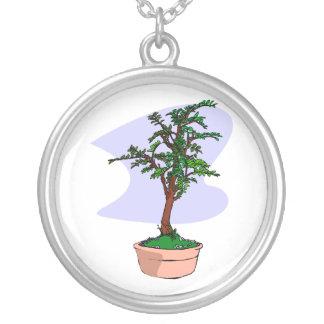 Elm Like Bonsai Tree Pink Pot Round Pendant Necklace