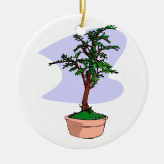 Elm Like Bonsai Tree Pink Pot Double-Sided Ceramic Round Christmas Ornament
