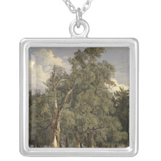 Elm trees in Prater, 1831 Square Pendant Necklace