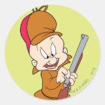 Elmer Fudd listo para cazar Pegatina Redonda