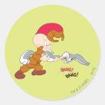 Elmer Fudd y Bugs Bunny Pegatinas Redondas