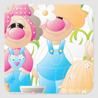 Elmer & Louise 1 Square Stickers