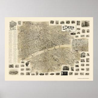 Elmira, mapa panorámico de NY - 1901 Posters
