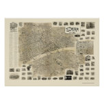 Elmira, mapa panorámico de NY - 1901 Póster