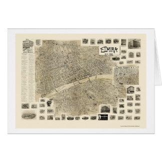 Elmira, mapa panorámico de NY - 1901 Tarjeta