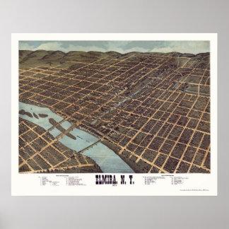 Elmira, NY Panoramic Map - 1873 Poster