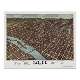 Elmira, NY Panoramic Map - 1873 Posters