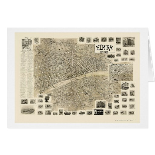 Elmira, NY Panoramic Map - 1901 Greeting Card