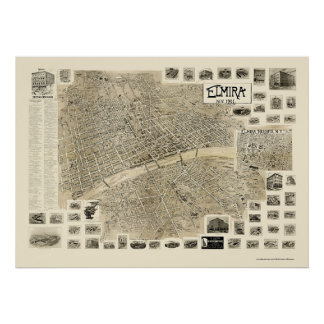 Elmira, NY Panoramic Map - 1901 Print