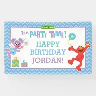 Elmo and Abby Birthday Banner