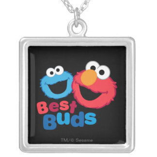Elmo and Cookie Besties Square Pendant Necklace