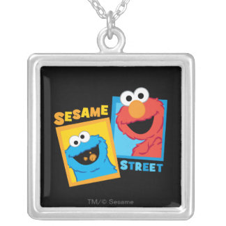 Elmo and Cookie Monster Friends Silver Plated Necklace
