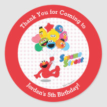 Elmo and Pals Birthday Balloons Classic Round Sticker
