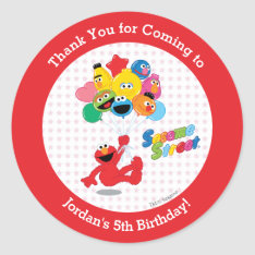 Elmo and Pals Birthday Balloons Classic Round Sticker at Zazzle
