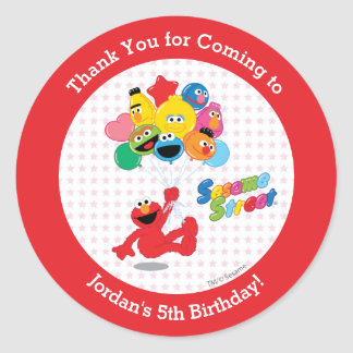 Elmo and Pals Birthday Balloons Classic Round Sticker