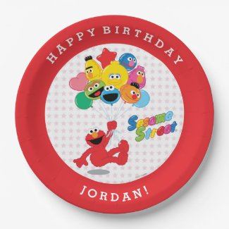Elmo and Pals Birthday Balloons Paper Plate