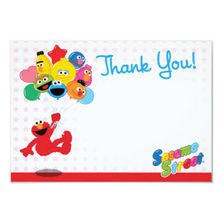 Elmo and Pals Birthday Balloons Thank You 3.5x5 Paper Invitation Card