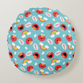 Elmo and Rainbows Pattern Round Pillow