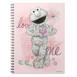 Elmo B&W Sketch Drawing Spiral Notebook