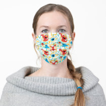 Elmo & Cookie Monster Fun Shapes Pattern Adult Cloth Face Mask
