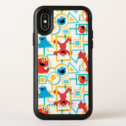 Elmo & Cookie Monster Fun Shapes Pattern OtterBox Symmetry iPhone X Case
