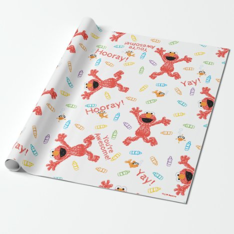 Elmo Crayon Pattern Wrapping Paper