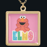"Elmo Cute & Fun Gold Plated Necklace<br><div class=""desc"">This cute Sesame Street design features Elmo leaning on fun Elmo text.  © 2021 Sesame Workshop. www.sesamestreet.org</div>"