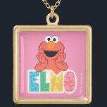 "Elmo Cute & Fun Gold Plated Necklace<br><div class=""desc"">This cute Sesame Street design features Elmo leaning on fun Elmo text.</div>"