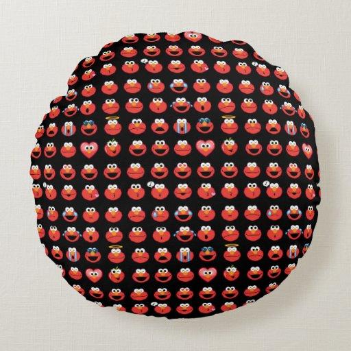 How To Make Round Throw Pillow : Elmo Emoji Pattern Round Pillow Zazzle