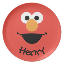 Elmo Face Art | Add Your Name Melamine Plate