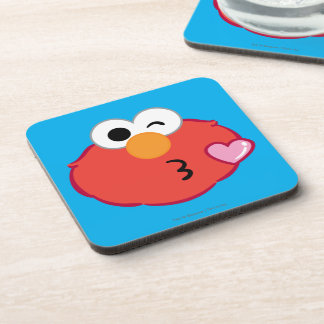 Elmo Face Throwing a Kiss Beverage Coaster
