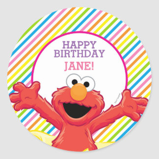 Elmo Girl's Birthday Classic Round Sticker