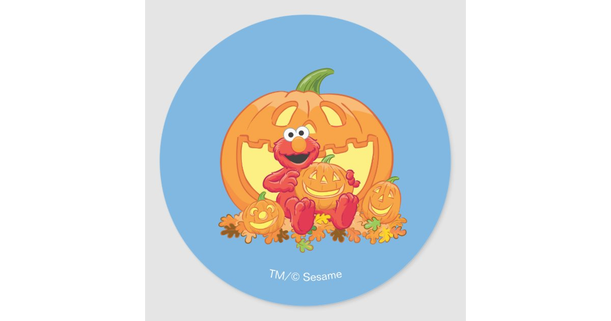 Elmo Halloween Pumpkins Classic Round Sticker Zazzle Com