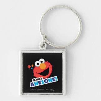 Elmo impresionante llavero cuadrado plateado
