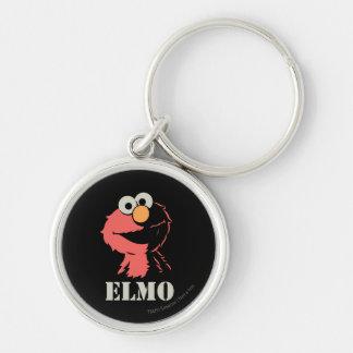 Elmo medio llavero redondo plateado
