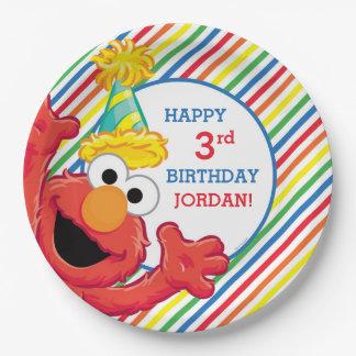Elmo rayó cumpleaños platos de papel