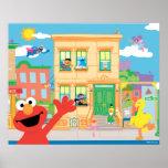 Elmo Sesame Street Scene Poster