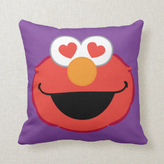 Elmo Smiling Face with Heart-Shaped Eyes Throw Pillow