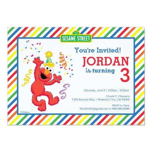 Elmo Striped Birthday 5x7 Paper Invitation Card