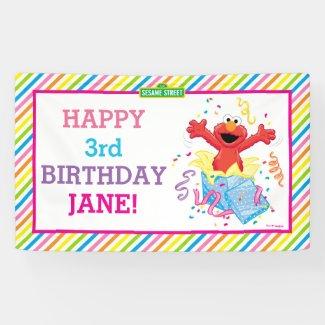 Elmo Striped Birthday Banner