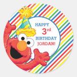 Elmo Striped Birthday Classic Round Sticker