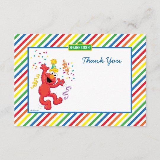 Elmo Striped Birthday Thank You Cards Zazzle Com
